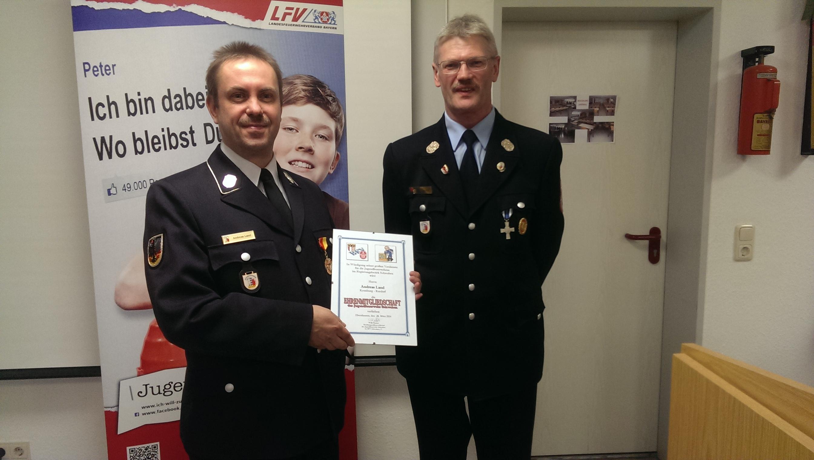Andreas Land ist Ehrenmitglied der JF Schwaben